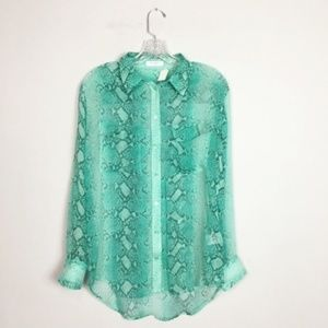 Equipment silk button down blouse green snake S